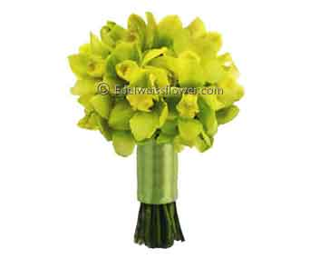 Green cymbidium bridal bouquet flowers in Santa Monica CA, Edelweiss Flower Boutique