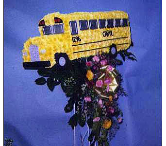 School Bus in Brick Town NJ, Flowers R Blooming of Brick