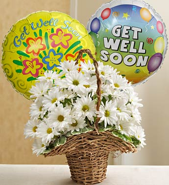 Basket Full of Daisies with Get Well Balloons in Hollister CA, Precious Petals