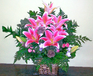 Pink Lily Basket in Ridgefield CT, Rodier Flowers
