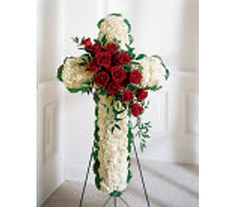The FTD� Floral Cross Easel in Des Moines IA, Doherty's Flowers