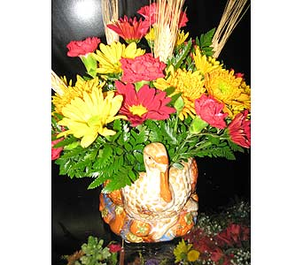 CRAFTY CERAMIC TURKEY ARRANGEMENT in New Paltz NY, The Colonial Flower Shop