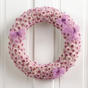 Lavender Button Pom Wreath in Eugene OR, Dandelions Flowers