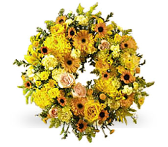 Yellow Wreath in Irvington NJ, Jaeger Florist