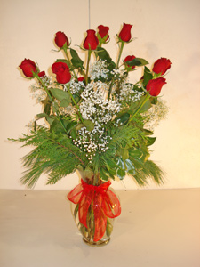 Dozen Christmas Red Roses in Naples FL, Gene's 5th Ave Florist