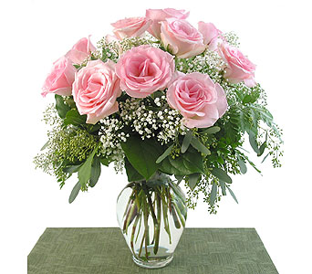Deluxe Pink Roses Vased in Southfield MI, Thrifty Florist