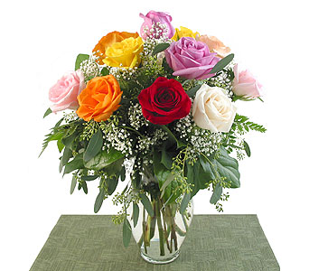 Deluxe Rainbow Roses Vased in Southfield MI, Thrifty Florist
