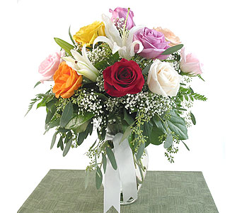 Rainbow Roses and White Lilies in Southfield MI, Thrifty Florist