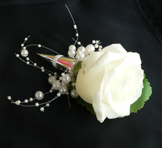Timeless Romance White Rose Boutonniere in Portland ME, Dodge The Florist