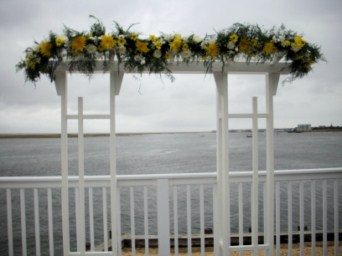 White Wood Arbor at Yacht Club in Tuckahoe NJ, Enchanting Florist & Gift Shop