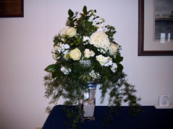 White High Top with Glass Bottom in Tuckahoe NJ, Enchanting Florist & Gift Shop