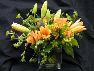 Orange cube vase in Chapel Hill NC, Floral Expressions and Gifts