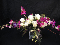 Horizontal vase in purple in Chapel Hill NC, Floral Expressions and Gifts