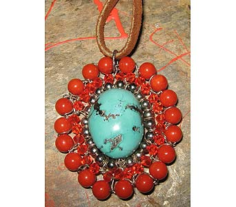 Turquoise Red Coral Pendant in Staten Island NY, Grapevine Garden and Florist