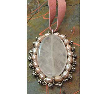 Rose Quarts Sterling Bali Bead Pink Pearl Pendant in Staten Island NY, Grapevine Garden and Florist