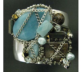 Amazonite Rainstorm Sterling Cuff Sharona Nissan in Staten Island NY, Grapevine Garden and Florist