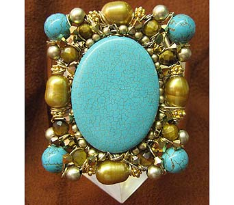 Turquoise Gold Monarch Cuff (2-inch width) in Staten Island NY, Grapevine Garden and Florist