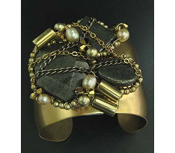 Pyrite Gold Meteor Gold Cuff in Staten Island NY, Grapevine Garden and Florist