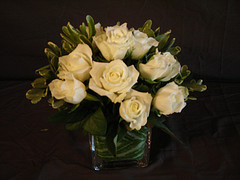 White roses in a cube in Chapel Hill NC, Floral Expressions and Gifts