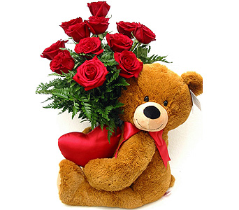 FF123 ''Bear Hugs & Long StemRoses'' in Oklahoma City OK, Array of Flowers & Gifts