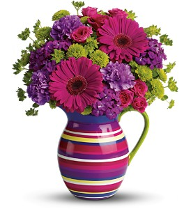 Teleflora's Rainbow Pitcher Bouquet in Surrey BC, Brides N' Blossoms Florists