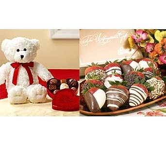 Dozen Chocolate Covered Strawberries & Bear in El Paso TX, Angie's Flowers