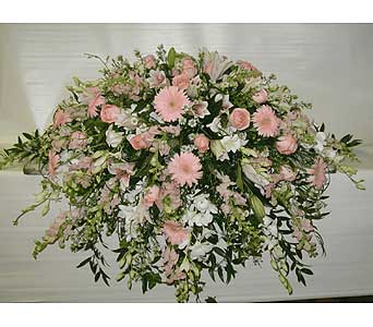 PINK AND WHITE CASKET SPRAY in Port Chester NY, Floral Fashions