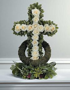 White Rose-Accented Cross in Las Vegas NV, A Flower Fair