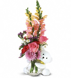 Teleflora's Bear Hug Bear with Pink Roses in The Woodlands TX, Rainforest Flowers
