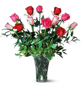 A Dozen Multi-Colored Roses in Modesto, Riverbank & Salida CA, Rose Garden Florist