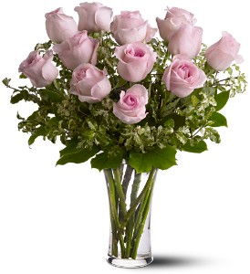 A Dozen Pink Roses in Lewiston ME, Val's Flower Boutique, Inc.