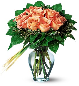 Perfectly Peachy Roses in Houston TX, Athas Florist
