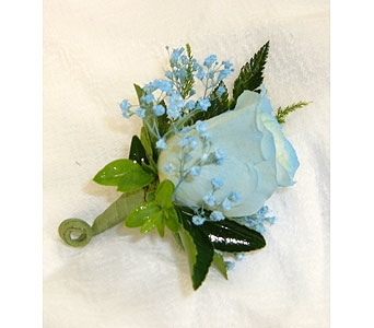 Carolina Blue Boutonniere in Asheville NC, Kaylynne's Briar Patch Florist, LLC