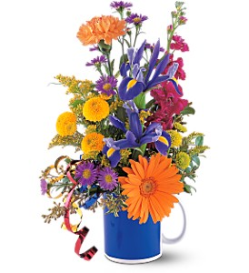 Cheerful Flowers in a Mug in Hollywood FL, Flowers By Judith
