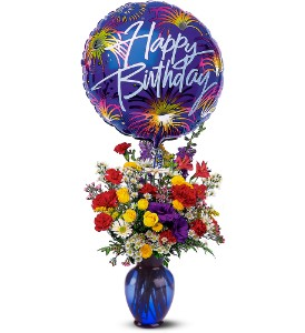 Birthday Fireworks in Holladay UT, Brown Floral