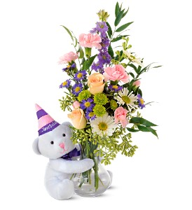 Teleflora's Party Bear in Warwick RI, Yard Works Floral, Gift & Garden