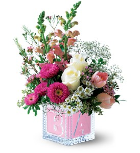 Teleflora's Baby Block (Girl) in Ajax ON, Reed's Florist Ltd