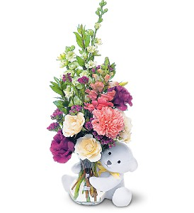Teleflora's Bear Hug Bear with White Roses in Marshall MI, Rose Florist & Wine Room