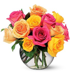 Multi-Colored Roses in Tulsa OK, Toni's Flowers & Gifts