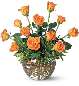 A Dozen Orange Roses in Orange CA, Main Street Florist