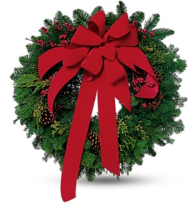 Wreath with Red Velvet Bow in Fredonia NY, Fresh & Fancy Flowers & Gifts