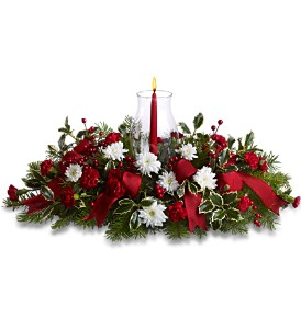 Happy Holidays Centerpiece in Saratoga Springs NY, Dehn's Flowers & Greenhouses, Inc
