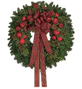 Fresh Wreath with Apples in Fairfield CT, Town and Country Florist