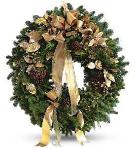 Golden Evergreen Wreath in Kent OH, Richards Flower Shop