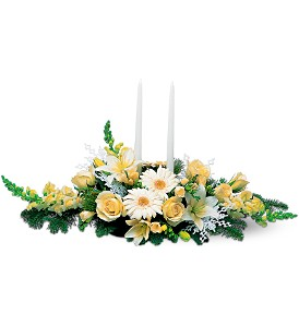 Two White Taper Centerpiece in Boston MA, Exotic Flowers