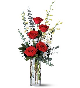 Red Roses and White Orchids in Modesto, Riverbank & Salida CA, Rose Garden Florist