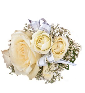 White Ice Roses Wristlet in Etobicoke ON, Alana's Flowers & Gifts