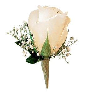 White Ice Rose Boutonniere in Fairfax VA, Greensleeves Florist