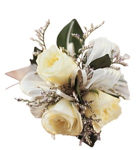 3 White Mini Roses Wristlet in Etobicoke ON, Alana's Flowers & Gifts