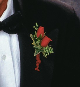 Red-Hot Roses Boutonniere in Peoria IL, Flowers & Friends Florist